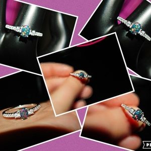 Jewelry - New, 925 Sterling Silver Black Opal & Cz Ring 10